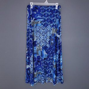 TANJAY Maxi Skirt Printed Stretch Waist Size 8 Patterned Blue Casual